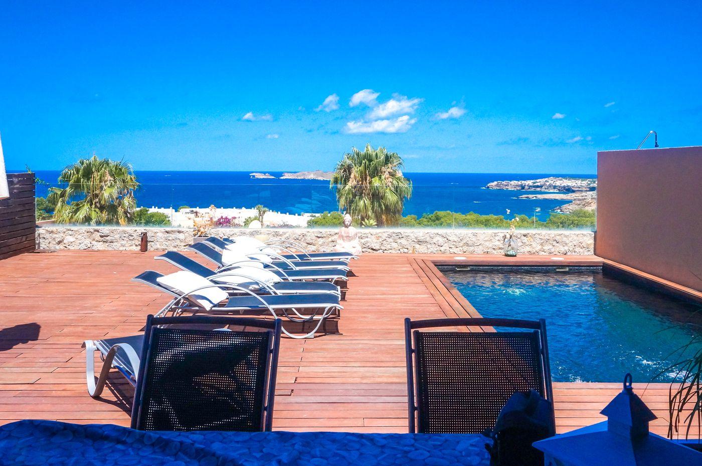Terraced house in Cala Tarida,Cala Moli with sea view-CVE00421